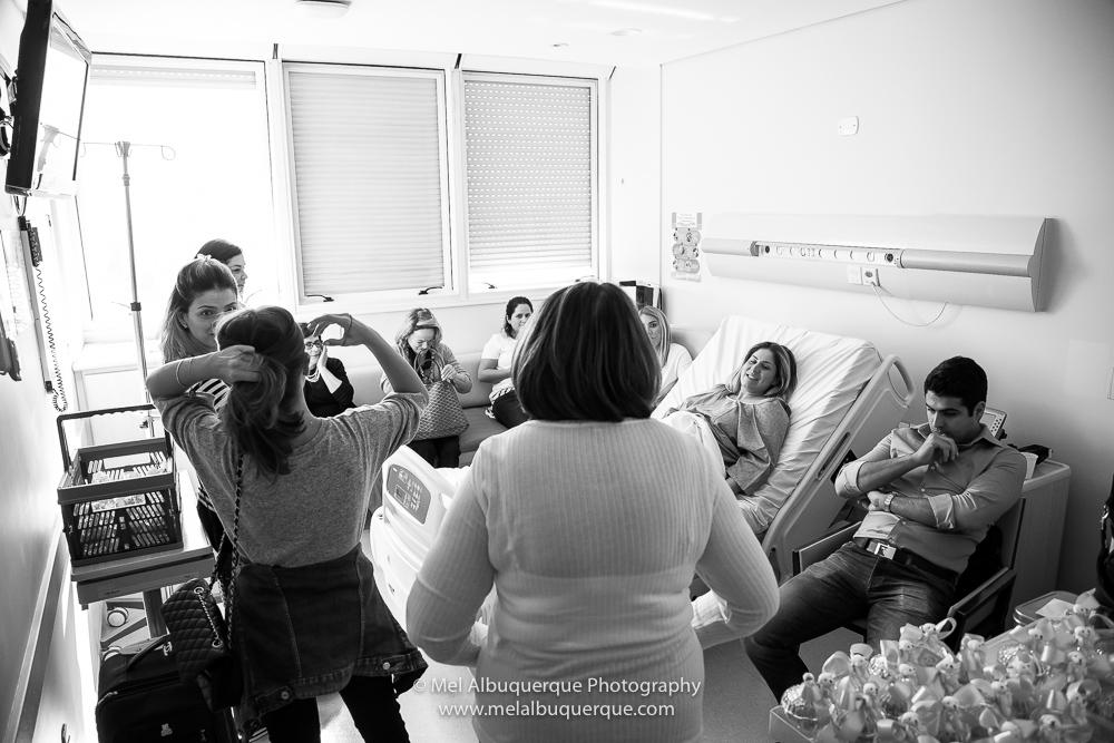 Família reunida antes do parto